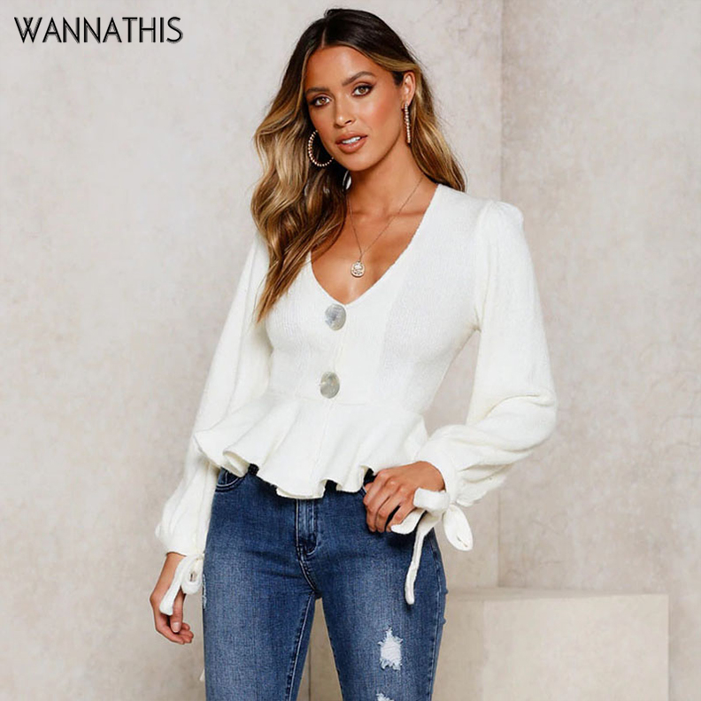 WannaThis Casual Button Ruffles V Neck Blouse Autumn Winter Long Sleeve Bandage White Cotton Elegant Fall Fashion Women Shirts in Blouses amp Shirts from Women 39 s Clothing