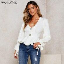 WannaThis Casual Button Ruffles V-Neck Blouse Autumn Winter Long Sleeve Bandage White Cotton Elegant Fall Fashion Women Shirts