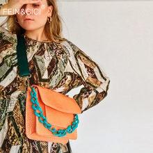 Designer print alligator leather shoulder bag acrylic chain totes handbag women orange flap crossbody messenger bag