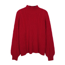 Vintage Turtleneck New Year's Sweater Women Lanter