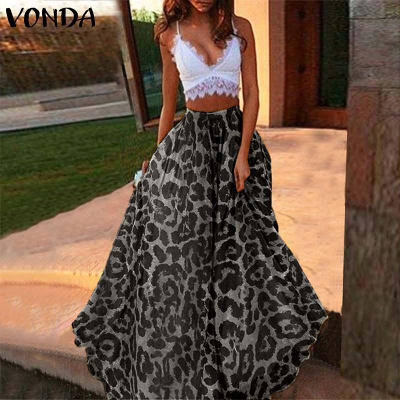 Plus Size VONDA Women' Skirt 2021 Sexy Long Maxi Leopard Printed Pleated Skirt Summer Leisure Party Night Club Ladies Skirts