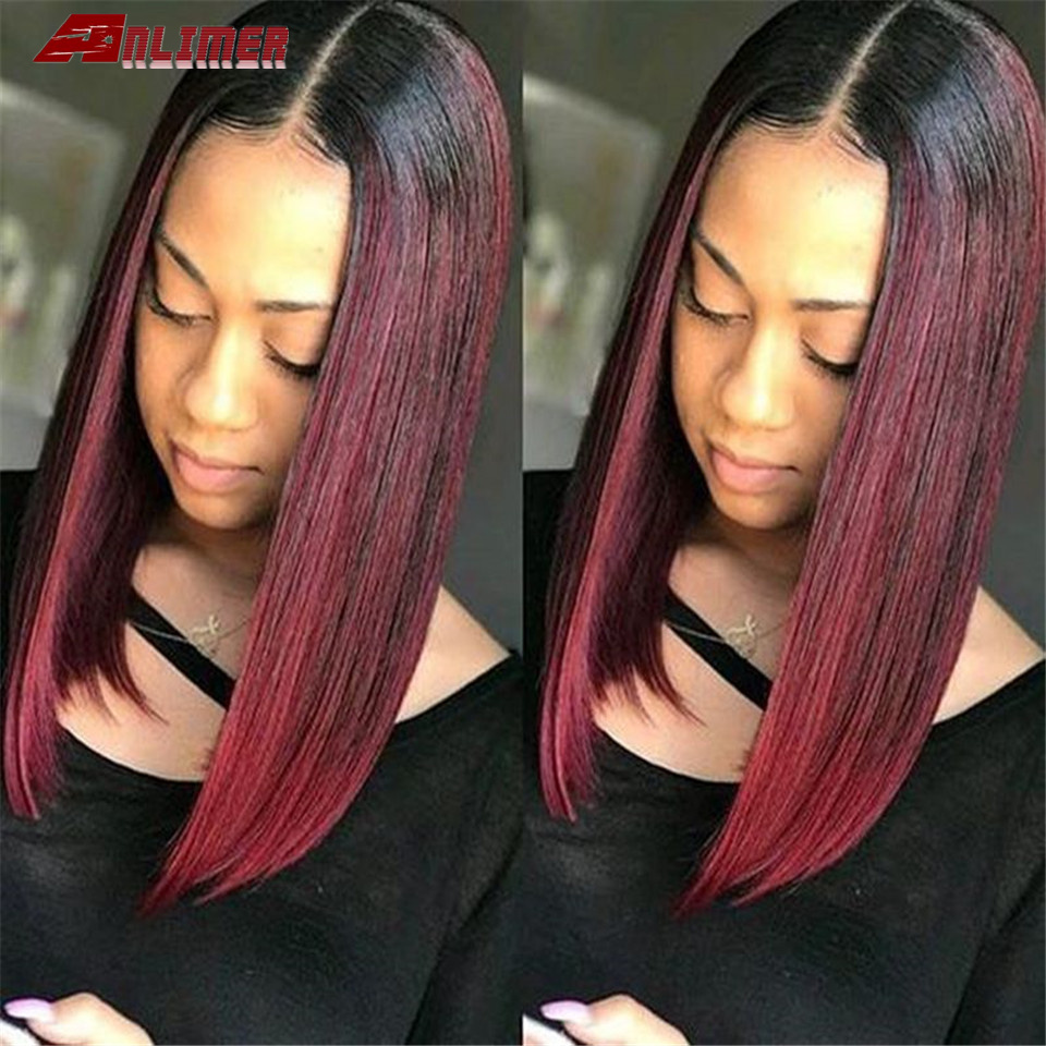 99J Ombre Color Short Lace Front Human Hair Wigs Brazilian Remy Human Hair Straight Bob Cut Wig Pre-Plucked Hairlin