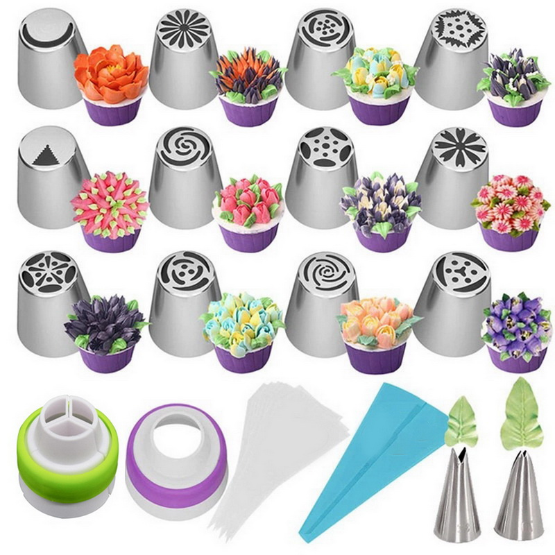 Flower-Cream Nozzles Pastry-Tips Cake-Decorating-Tools Cupcake Tulip Russian Stainless-Steel