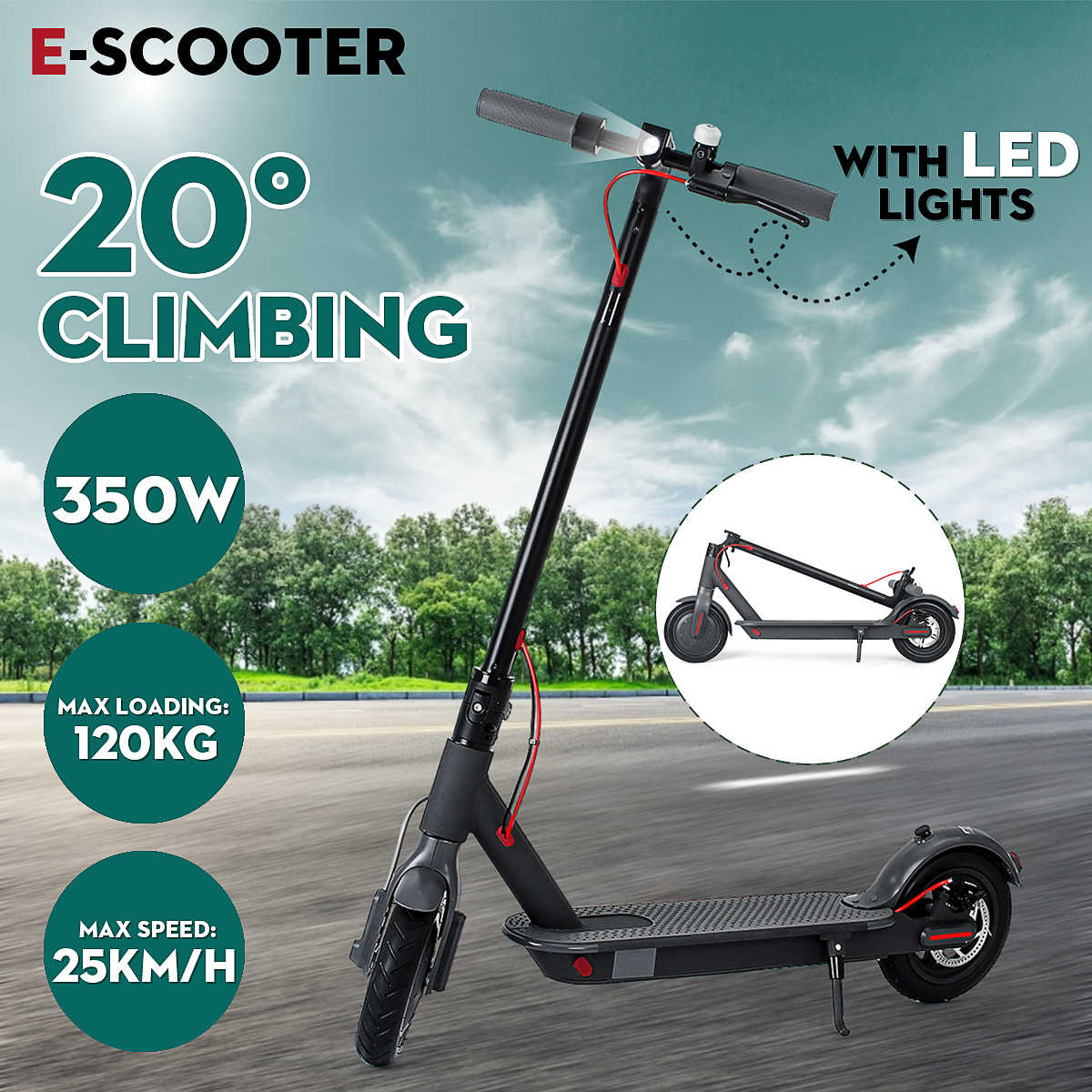 Adult Electric Scooter 100-240V 350W Foldable And Portable Black Accessories Electric Scooters With Two Wheels 111.5x23.5x31cm