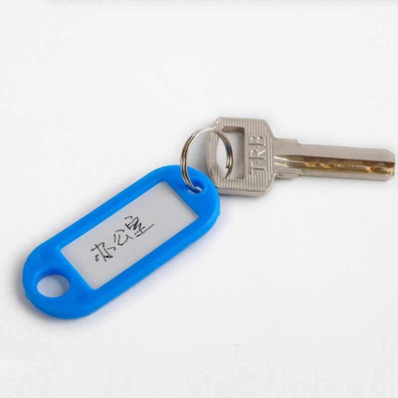 1 قطعة البلاستيك موضة مفتاح Fobs اللغة ID العلامات تسميات حلقات المفاتيح علامات الاسم مع سبليت الدائري للأمتعة سلسلة مفاتيح حلقات المفاتيح