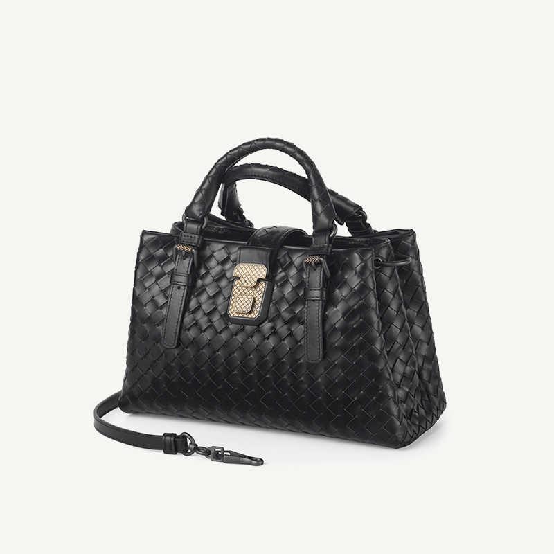 Bolsa de mão de couro tecido, bolsa feminina de ombro estilo minimalista nova varal