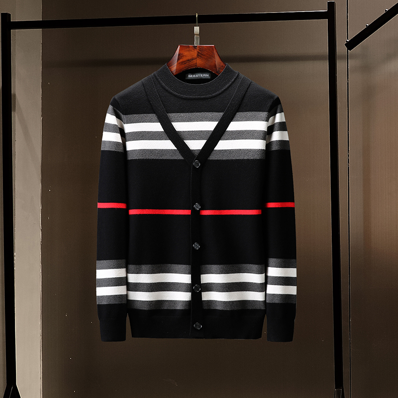 seestern Brand Men's Knitted Sweater New Imitation Button style Pullover Fashion Stripes Autumn Winter man Warm out Sweaters