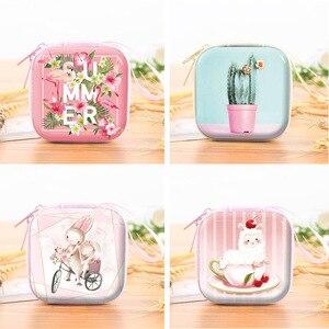 Корейская мода, жестяная квадратная коробка для хранения кабеля наушников, мультяшный кукольный нулевой бумажник, милая детская сумка для ...