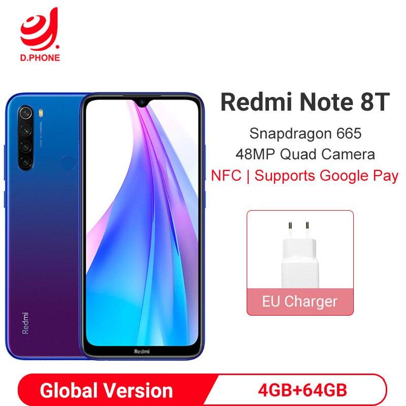 Versión Global Xiaomi Redmi Note 8T 8 T 4GB 64GB NFC Smartphone Snapdragon 665 Octa Core 48MP Quad cámara trasera 6,3