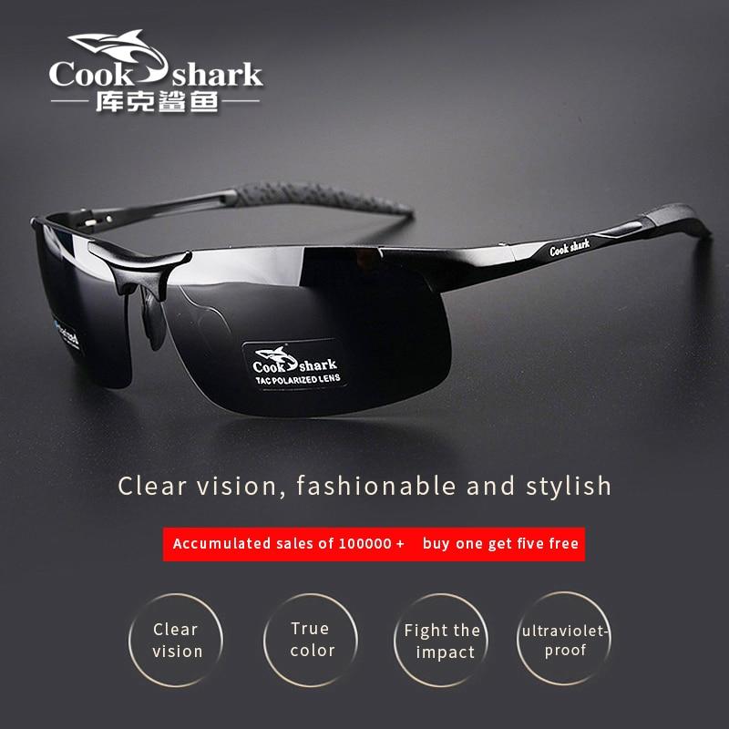 Cook requin nouveau aluminium magnésium lunettes de soleil hommes lunettes de soleil HD polarisées conduite pilotes couleur lunettes marée