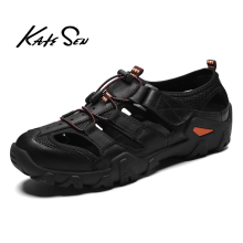KATESEN New Summer Men Sandals Leisure Beach Men Casual Shoes High Quality Genuine Leather Sandals The Men's Sandals size 38-48 new men shoes genuine leather men sandals summer men causal shoes beach sandals man fashion outdoor casual sneakers size 38 48