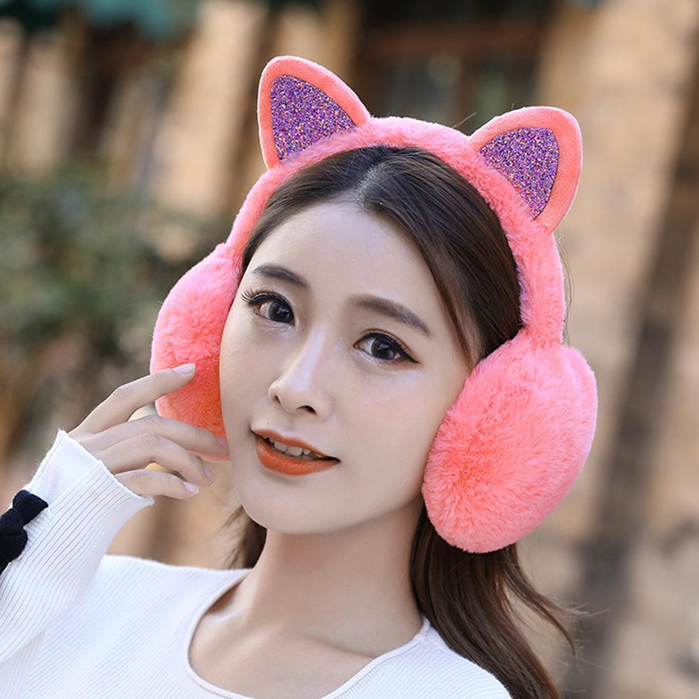 Hot Fashion Women Cat Ears Sequins Plush Earmuffs Earflap Earcap Winter Ear Warmer