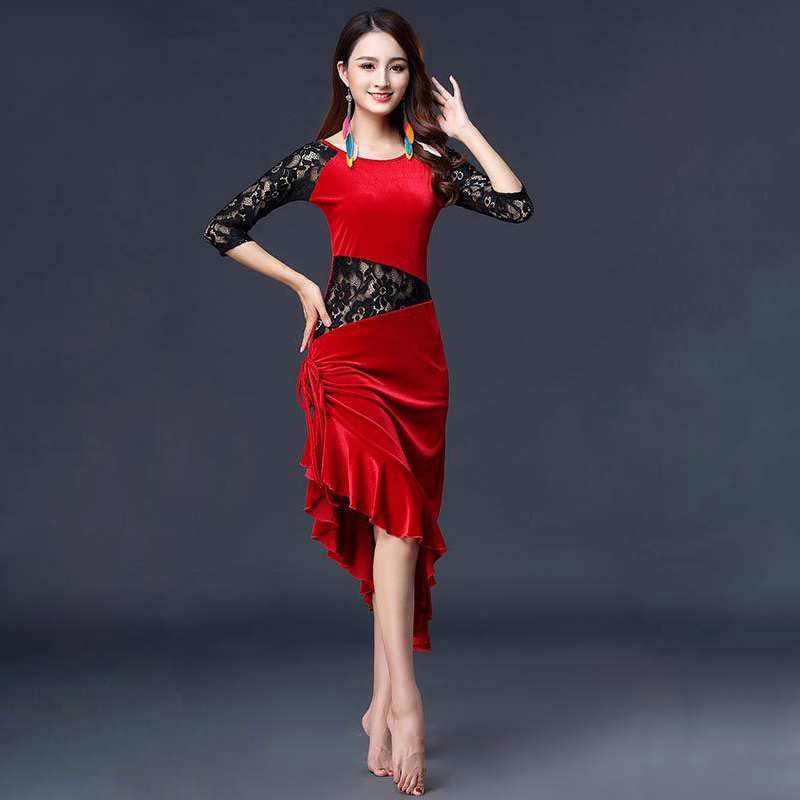 New Women Dance Wear Ballroom Dress Samba Costume Sexy Party Dresses Floral Lace One-piece Latin Dress Velvet