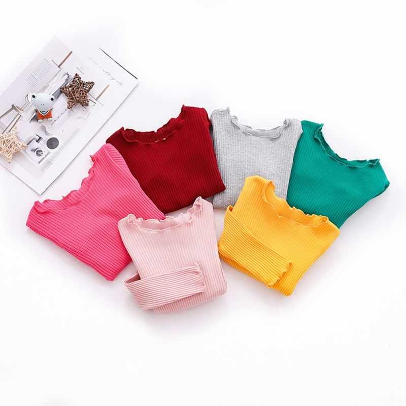 2019 ใหม่ฤดูใบไม้ร่วงเด็กหญิงยาวแขนยาวเสื้อยืดเด็กผ้าฝ้ายเสื้อ Tees Casual เสื้อ