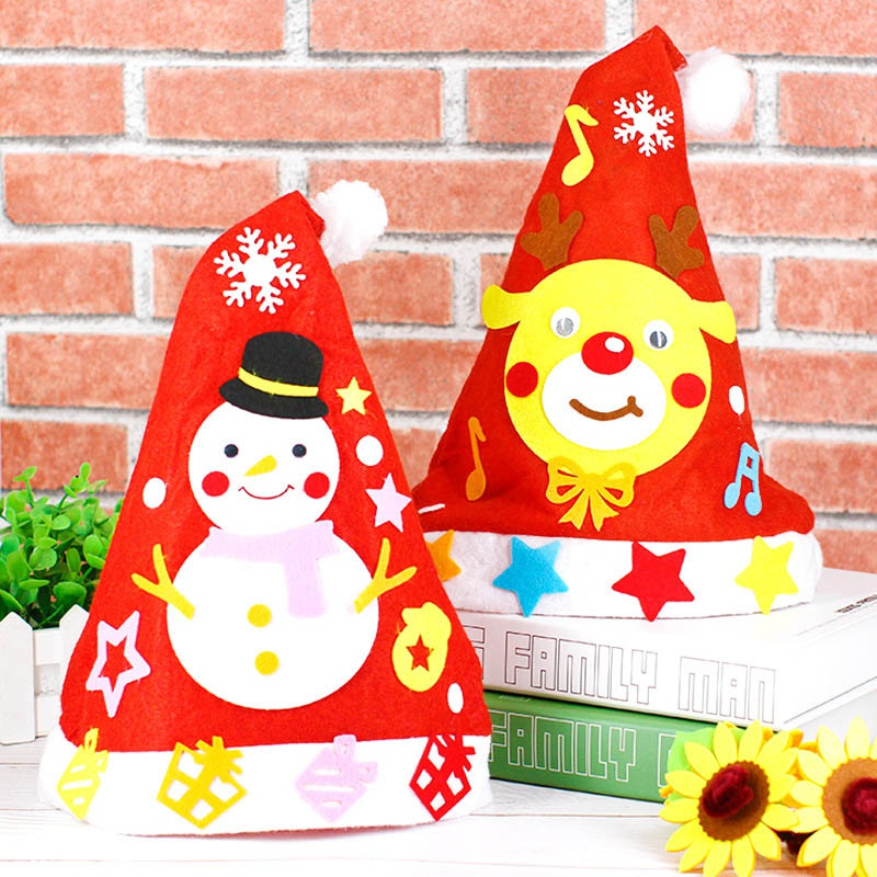 Children DIY Puzzle Toy Christmas Tree Santa Hat Craft Toy For Kids Kindergarten Educational Toys Gift Handmade Material Bag