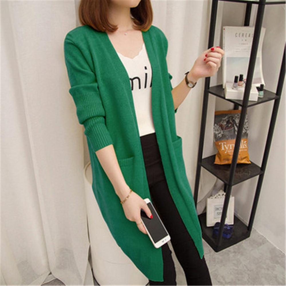 Женский кардиган средней длины, свитер с длинным рукавом, куртка осень-зима 2020, Женский однотонный Кардиган большого размера ZY5163
