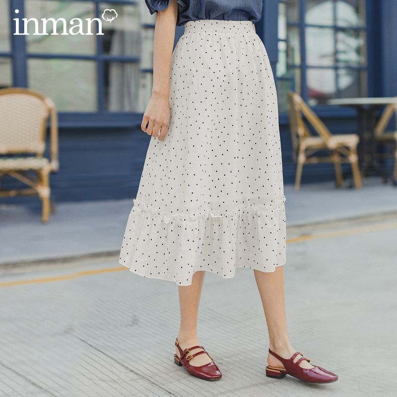 INMAN 2020 Summer New Arrival Elastic Waist Sweet Retro Cute Wave Point Skirt