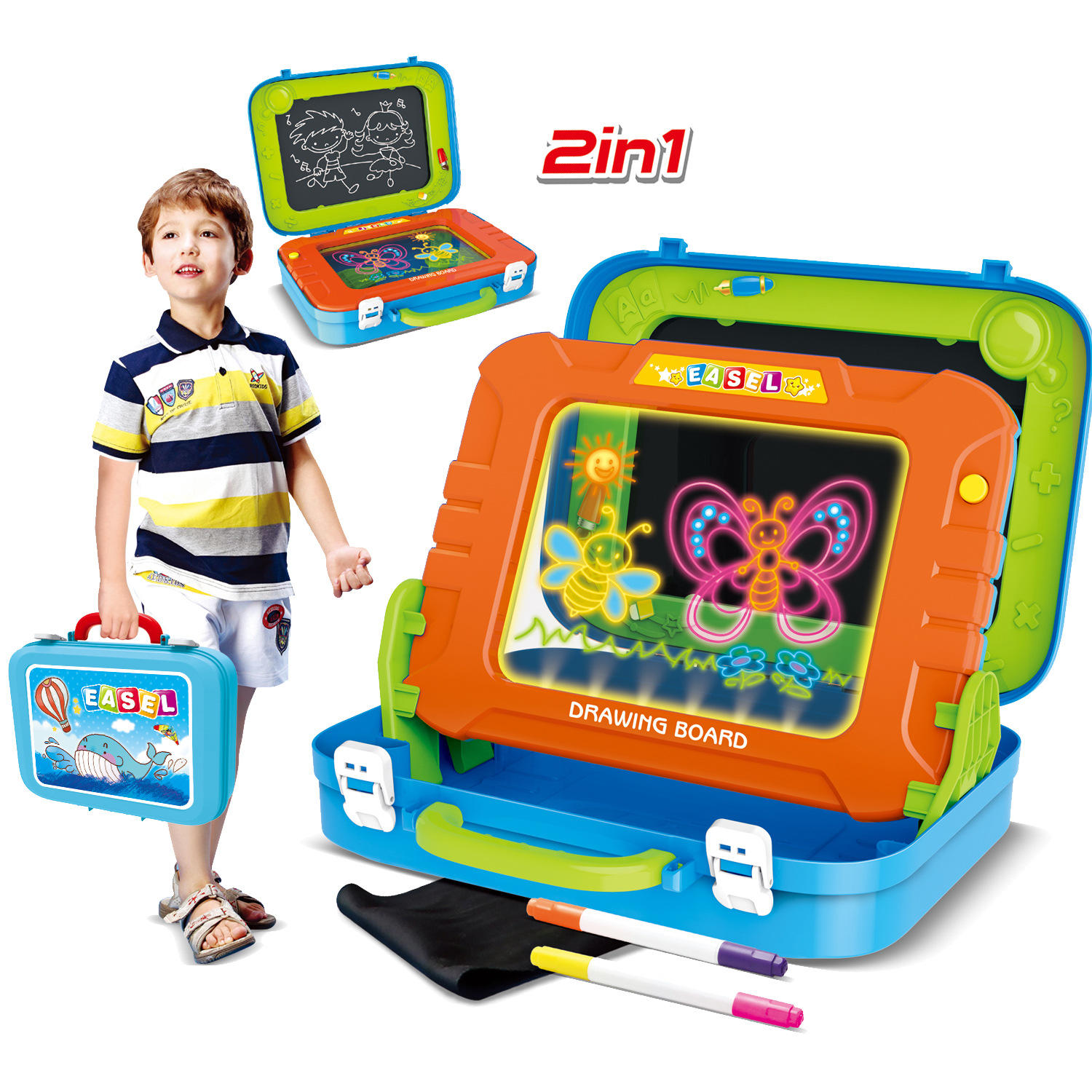 Educational Children Multi-functional Sketchpad Magnetic Drawing Board Suitcase Pin Zhu Fluorescent Writing Board Baby Learning