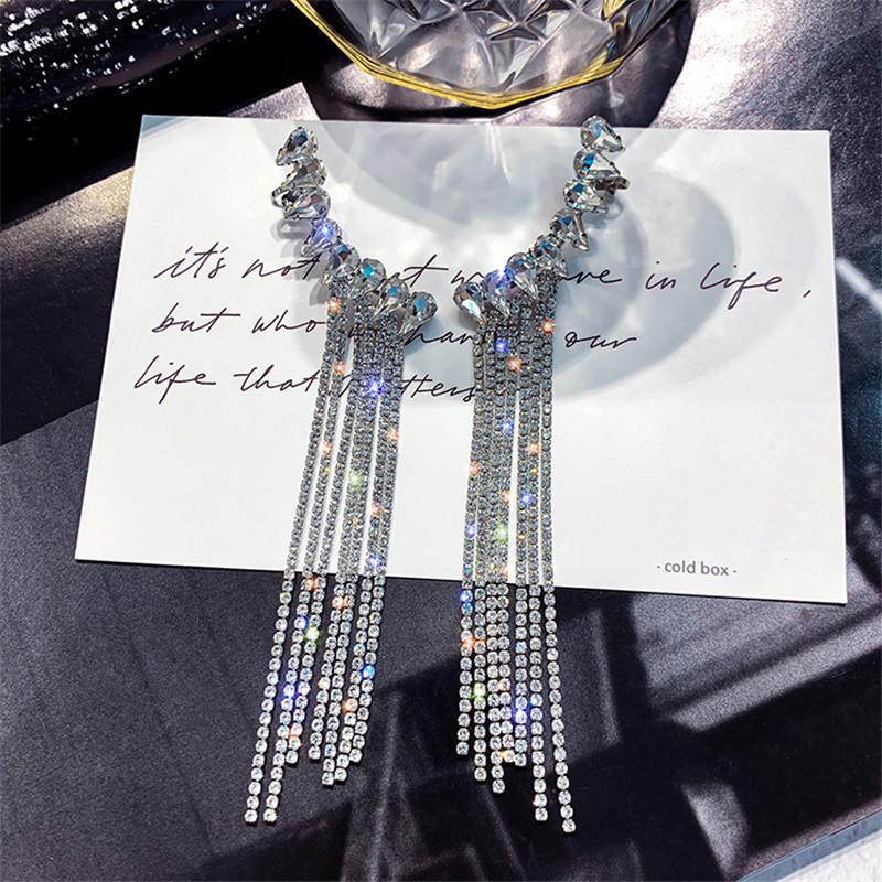 FYUAN Fashion Long Tassel Full Rhinestone Drop Earrings for Women Bijoux Shiny Water Drop Crystal Dangle Earrings Jewelry Gifts