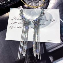 купить FYUAN Fashion Long Tassel Full Rhinestone Drop Earrings for Women Bijoux Shiny Water Drop Crystal Dangle Earrings Jewelry Gifts по цене 302.21 рублей
