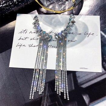 FYUAN Fashion Long Tassel Full Rhinestone Drop Earrings for Women Bijoux Shiny Water Drop Crystal Dangle Earrings Jewelry Gifts недорого