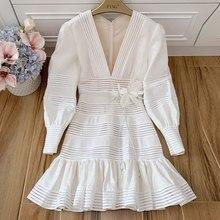 Baogarret New Elegant Sexy Deep V Collar Party Dresses 2019 Runway Designer Women Spring Summer Robe Femme Vestidos Dress