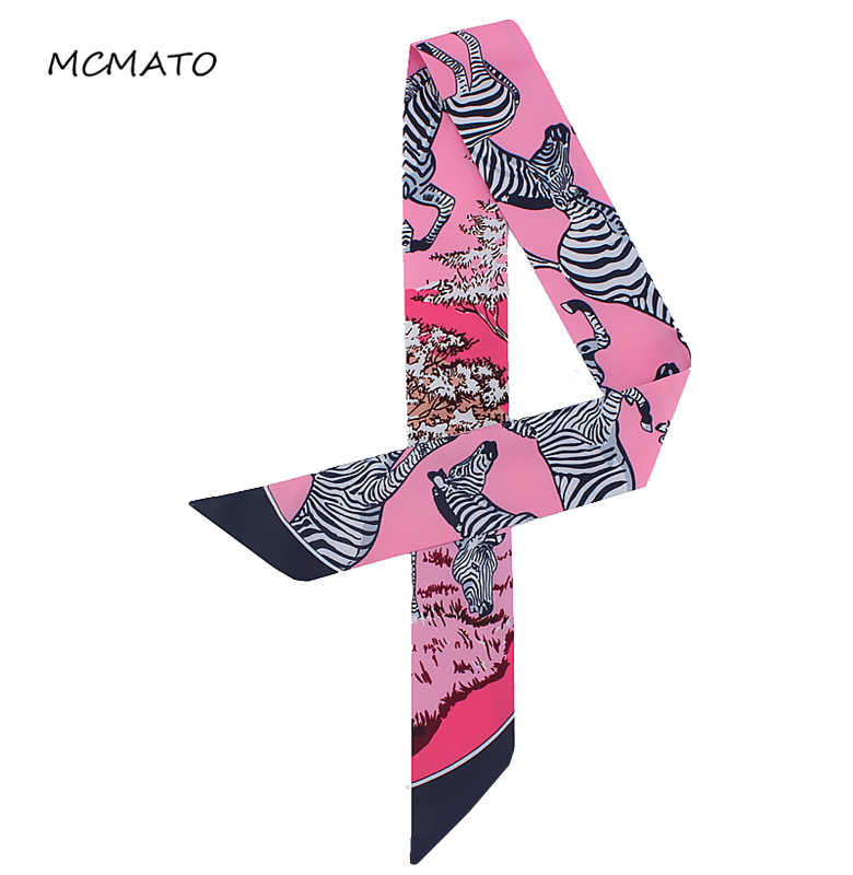 Bag Scarf 2019 New Brand Zebra Striped Small Silk Scarf For Women Print Headband Handle Bag Ribbons Small Long Scarves Tie