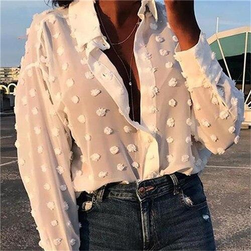 Womens Tops Blouses Elegant Long Sleeve See-through Sheer Mesh Polka Dot Loose OL Shirt Ladies Chiffon Blouse Summer blusa 8