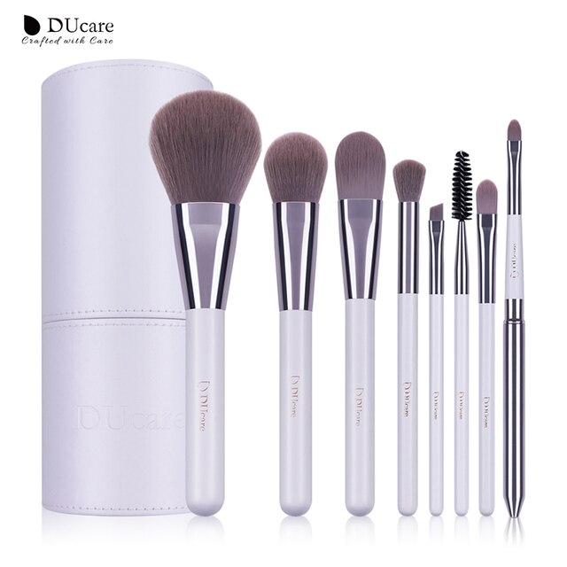 DUcare 8 PCS לבן איפור מברשות מקצועי מברשת סט מברשות איפור אבקת קרן צללית מברשות עם צילינדר