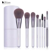 DUcare 8 sztuk białe pędzle do makijażu profesjonalny pędzel zestaw pędzle do proszek do makijażu pędzle do cieni do powiek z cylindrem