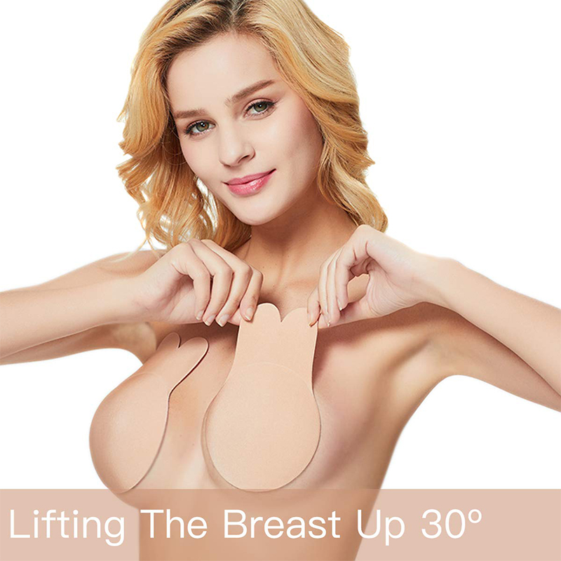 1 Pair Silicone Adhesive Women Invisible Push Up Bras Nipple Cover Breast Pasties Reusable Lift Up Tape Rabbit Bra Strapless Bra