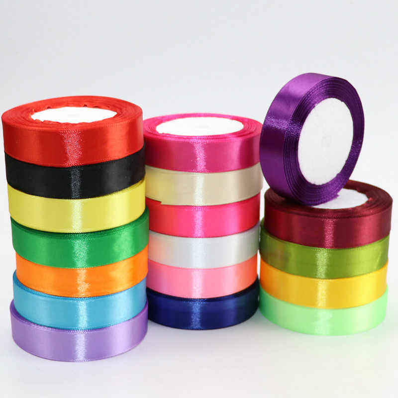 22meter/Roll 6mm 10mm 15mm 20mm 25mm 40mm 50mm Silk Satin Ribbons Crafts Bow Handmade DIY Gift Box Wrap Party Wedding Decorative