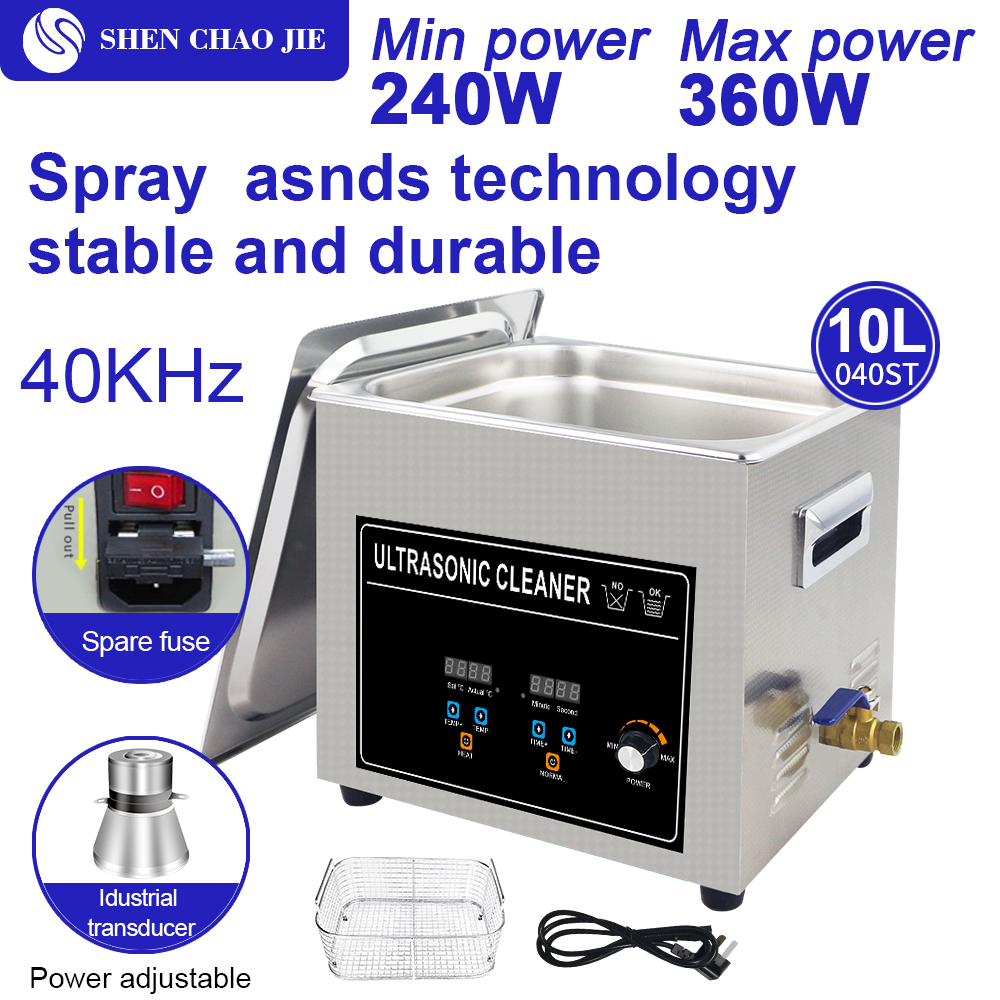 Digital Ultrasonic Cleaner 120W 540W Adjustable Time Temperature Display Power Industrial Transducer Ultrasound Cleaning Watches