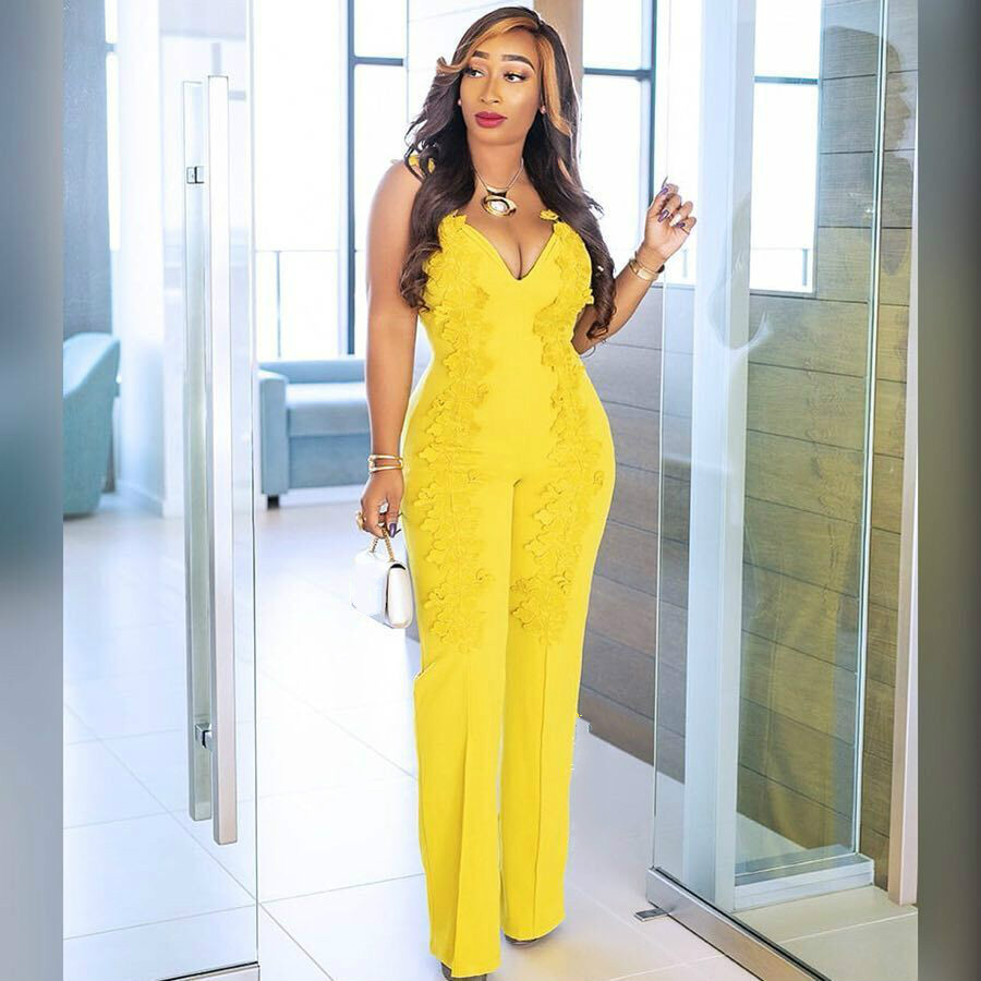 Women Sexy Jumpsuits Yellow Sleeveless Deep V Neck with Embroidery Slim Bodysuit 2020 Plus Size XXL Overalls for Elegant Lady title=