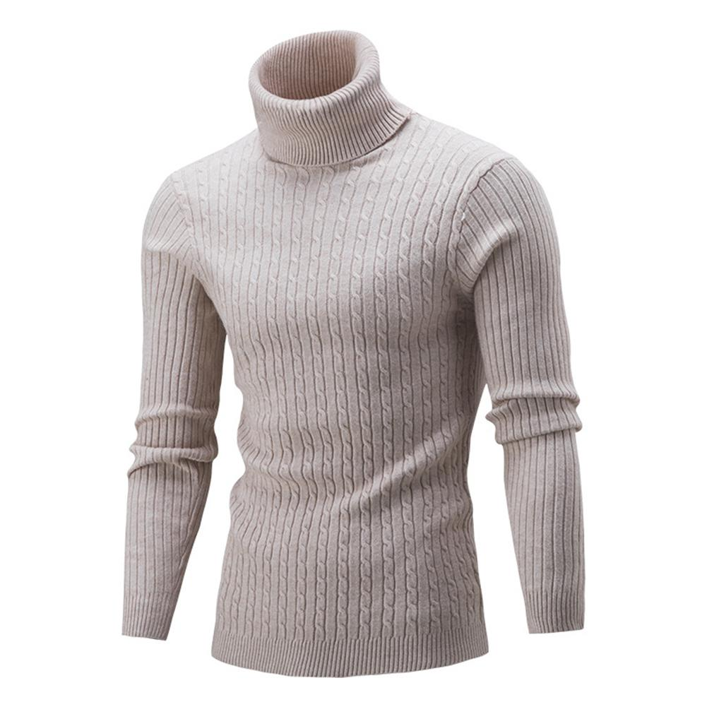 Winter High Neck Thick Warm Sweater Men Turtleneck Brand Mens Sweaters Slim-Fit Pullover Men Knitwear Male Double Collar