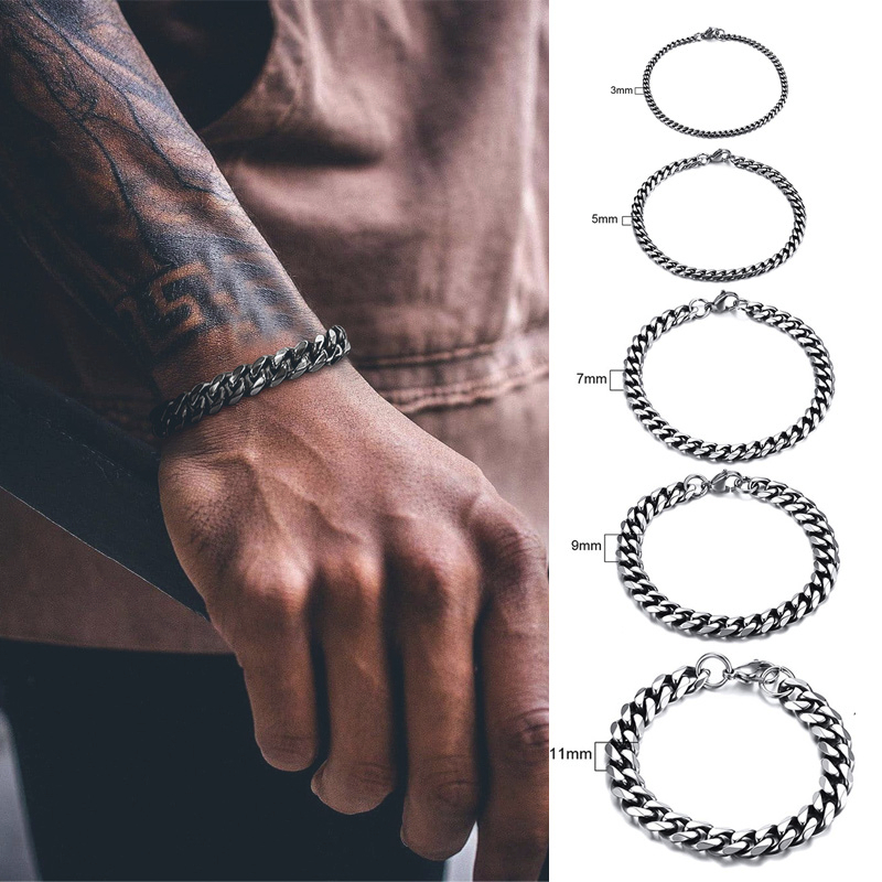 MENS HIP HOP CUBAN LINK BRACELET IN STAINLESS STEEL 3 TO 11MM ASSORTED COLORS 7 TO 9 INCHES