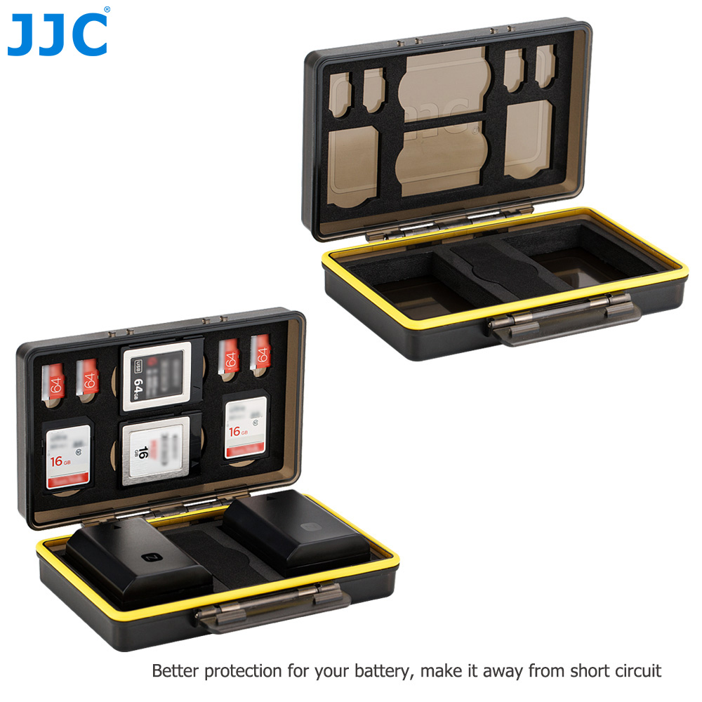 JJC Water-Resistant Anti-Shock Camera Battery Case Box For Fujifilm NP-W126 NP-W126S NP-95 With Slots for SD MSD XQD Memory Card