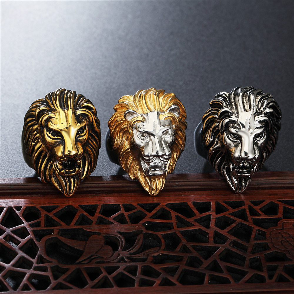 Luxury Stereoscopic Lion Design Rings Jewelry Titanium Steel Rings Casting Ring For Man Free shipping in Rings from Jewelry Accessories
