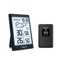 Baldr Digital Weather Station Hygrometer Thermometer Forecast Indoor Outdoor Sensor Thermo hygrometer Alarm Clock|Temperature Gauges| |  -