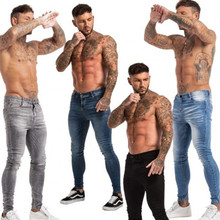 Мужчины Pure Color Skinny Jeans Men +Stretch Ripped Pants Streetwear Mens Denim Jeans S-4XL Men Washed Vintage Pencil Jeans