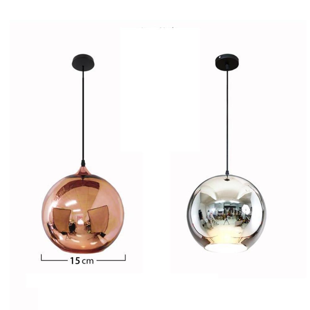 Glass Globe Pendant Lights Copper Glass Mirror Ball Hanging Lamp Kitchen Modern Lighting Fixtures Hanging Light