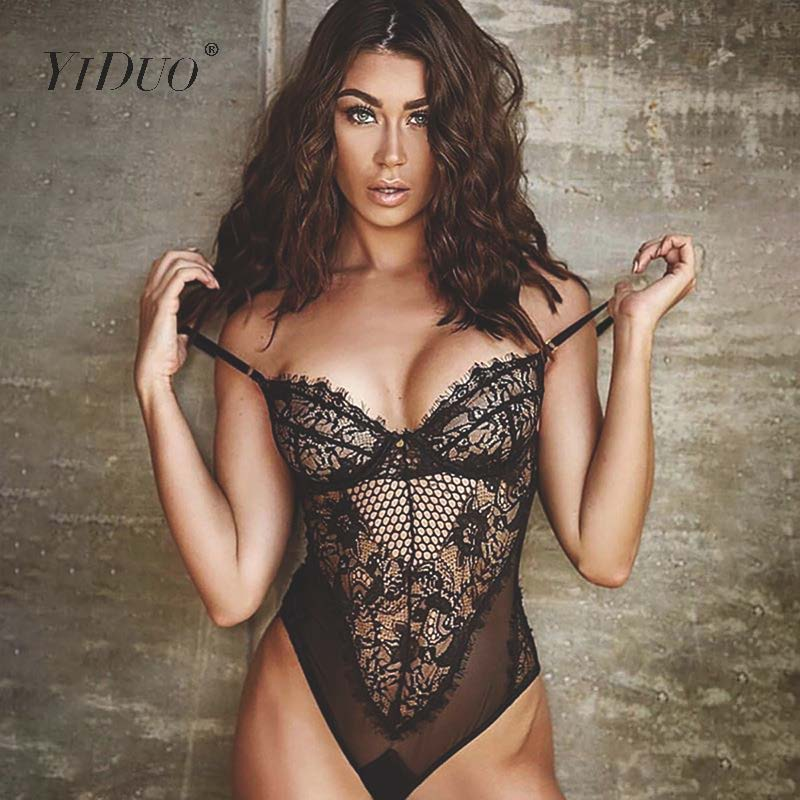 YiDuo Lace Bodysuit Women Floral Embroidery White Black Bodysuit Slim Fit Bodycon Perspective Sexy Bodysuit Teddy Overalls Pink