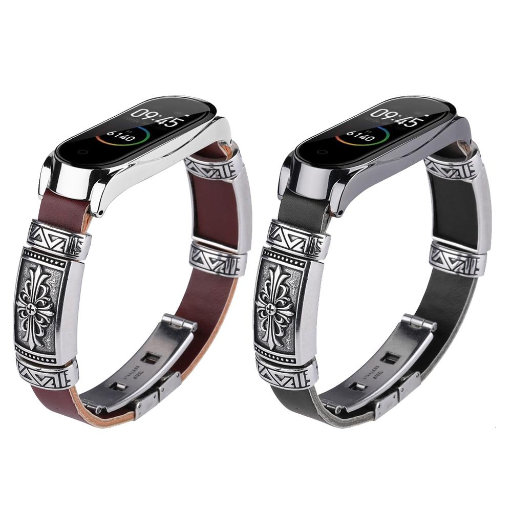 DIY Original Retro Genuine Leather For Mi Band 4   Watch Bracelet, For Xiaomi Mi Band 3 Vintage Engraving Metal Strap Bracelets