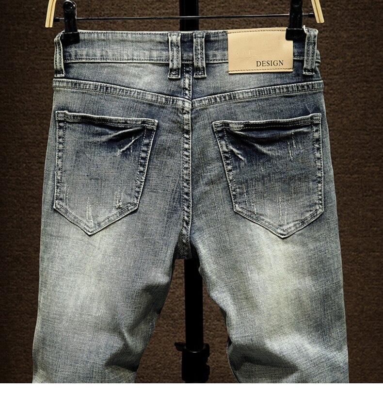 KSTUN American Streetwear Fashion Men Jeans Retro Blue Slim Fit Elastic Ripped Jeans Men Destroyed Denim Pants Printing Hip Hop Jeans 14