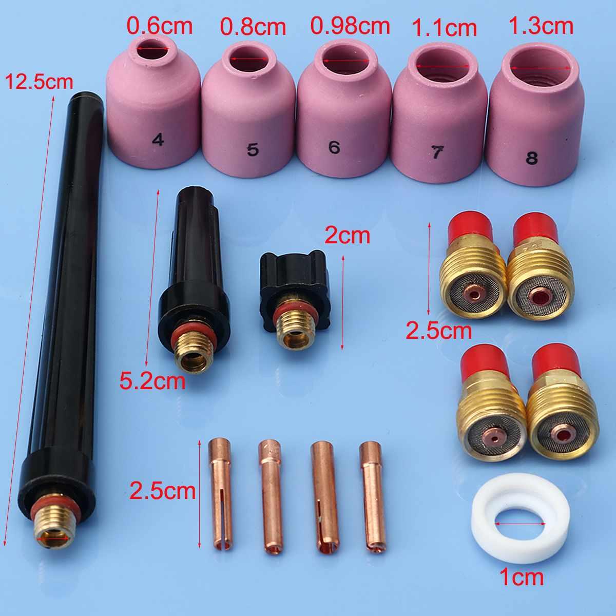 Gorąca sprzedaż 17 sztuk TIG palnik do spawania soczewka gazowa akcesoria pełny zestaw zestaw do WP9/20/25 serii 0.040