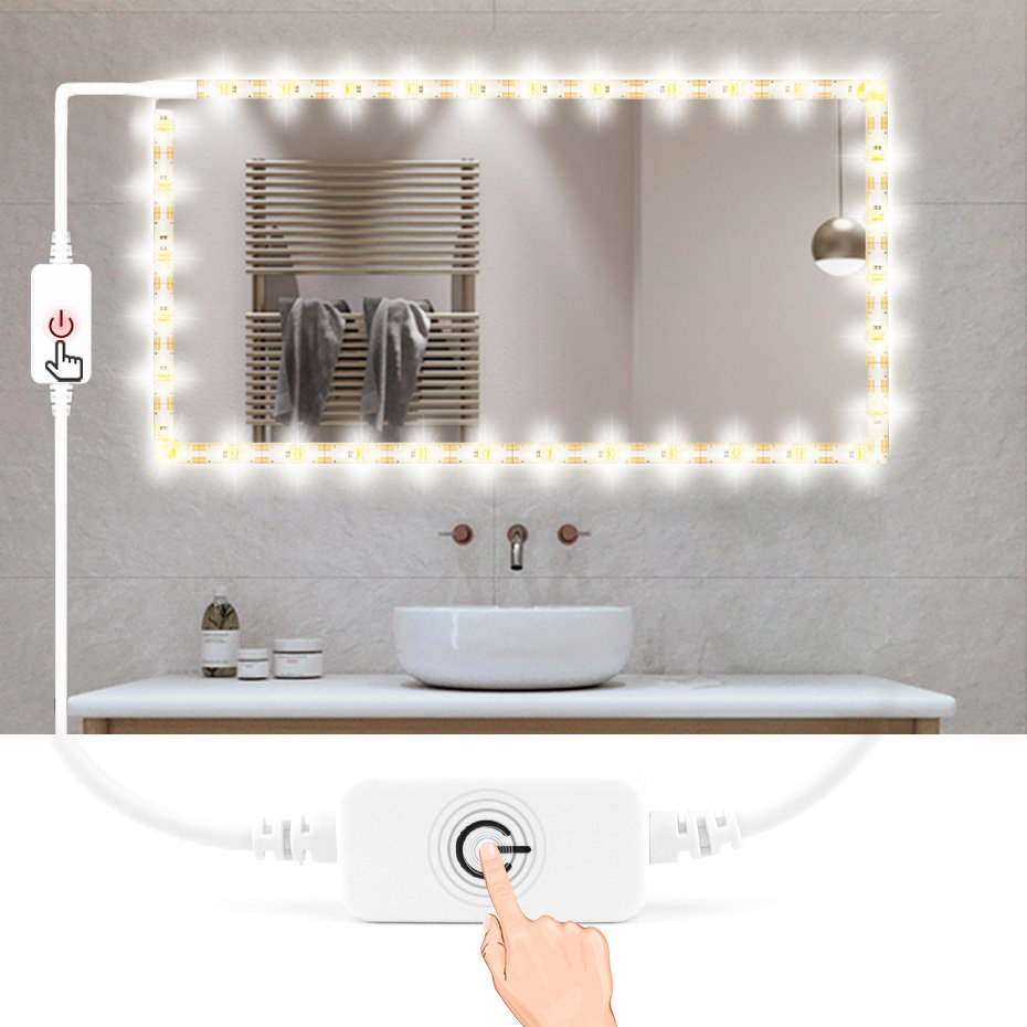 USB 5V Waterproof Mirror Light Bathroom Led Strip Makeup Light With Touch Dimmer Makeup Table Mirror Bedroom Decor TV Backlight