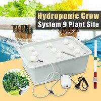 9 buracos 220 v planta local sistema hidropônico interior caixa de armário jardim crescer kit bolha jardim vasos plantador pote do berçário