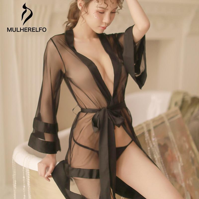 Black Deep V See Through Women Sexy Nightwear Long Sleeve Sashes Cardigan Mini Night Dress Women Sexy Nightgowns Seksi Gecelik