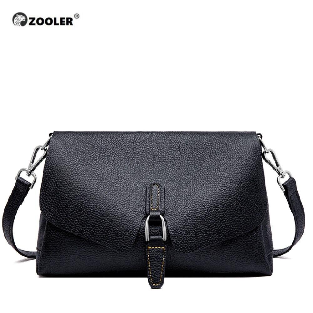 ZOOLER السيدات Crossbody حقيبة حقيبة يد فاخرة النساء حقائب كتف مصمم جلد طبيعي أسود حقيبة ساعي الإناث الفتيات # LD200-في حقائب قصيرة من حقائب وأمتعة على  مجموعة 1