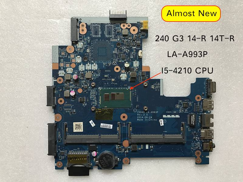 For HP 14-R 14T-R 240 G3 Notebook PC Motherboard ZSO40 LA-A993P 755835-001 755835-501 SR1EF I5-4210U